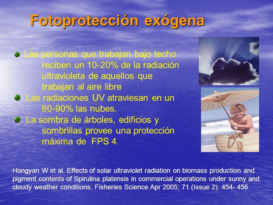 Las personas que trabajan bajo techo reciben un 10-20% de la radiación ultravioleta de aquellos que trabajan al aire libre Las radiaciones UV atravies