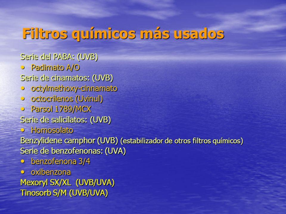 Filtros químicos más usados Serie del PABA: (UVB) Padimato A/O Padimato A/O Serie de cinamatos: (UVB) octylmethoxy-cinnamato octylmethoxy-cinnamato oc