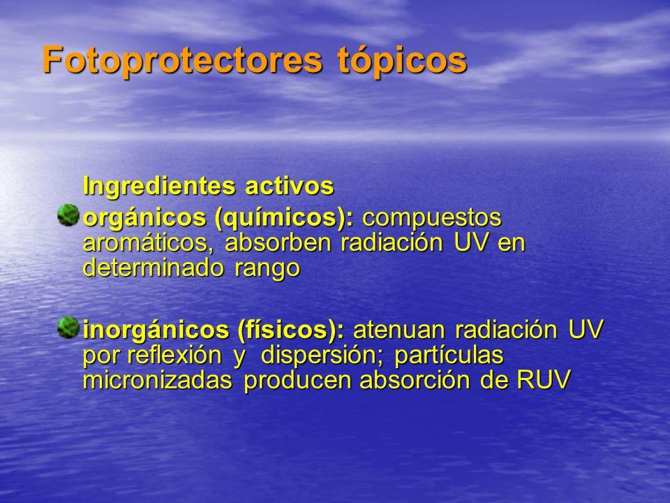 Fotoprotectores tópicos Ingredientes activos Ingredientes activos orgánicos (químicos): compuestos aromáticos, absorben radiación UV en determinado ra