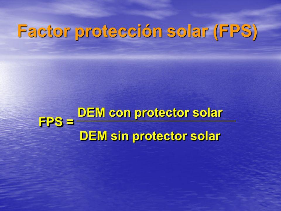 FPS = DEM con protector solar DEM sin protector solar Factor protección solar (FPS)