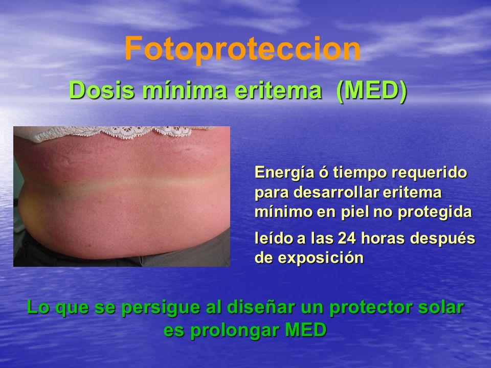 Fotoproteccion Energía ó tiempo requerido para desarrollar eritema mínimo en piel no protegida leído a las 24 horas después de exposición Lo que se pe