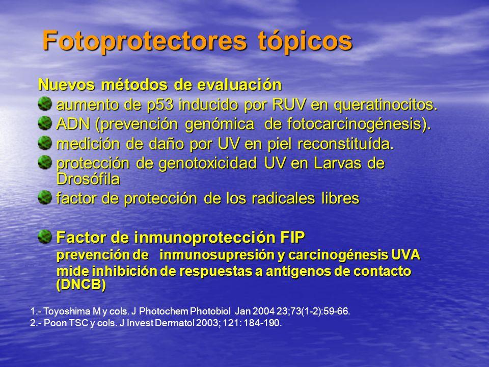 Fotoprotectores tópicos Nuevos métodos de evaluación aumento de p53 inducido por RUV en queratinocitos. ADN (prevención genómica de fotocarcinogénesis