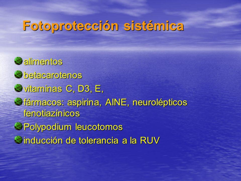 Fotoprotección sistémica alimentosbetacarotenos vitaminas C, D3, E, fármacos: aspirina, AINE, neurolépticos fenotiazínicos Polypodium leucotomos induc