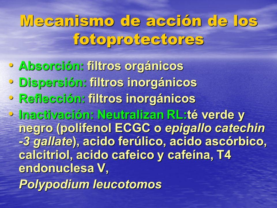 Mecanismo de acción de los fotoprotectores Absorción: filtros orgánicos Absorción: filtros orgánicos Dispersión: filtros inorgánicos Dispersión: filtr