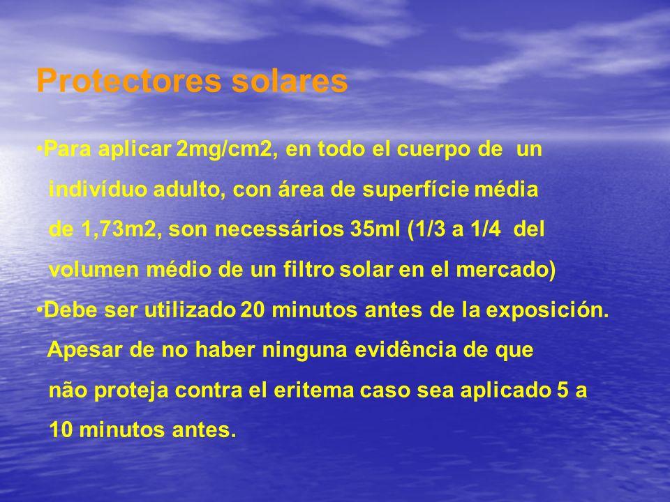 Protectores solares Para aplicar 2mg/cm2, en todo el cuerpo de un indivíduo adulto, con área de superfície média de 1,73m2, son necessários 35ml (1/3