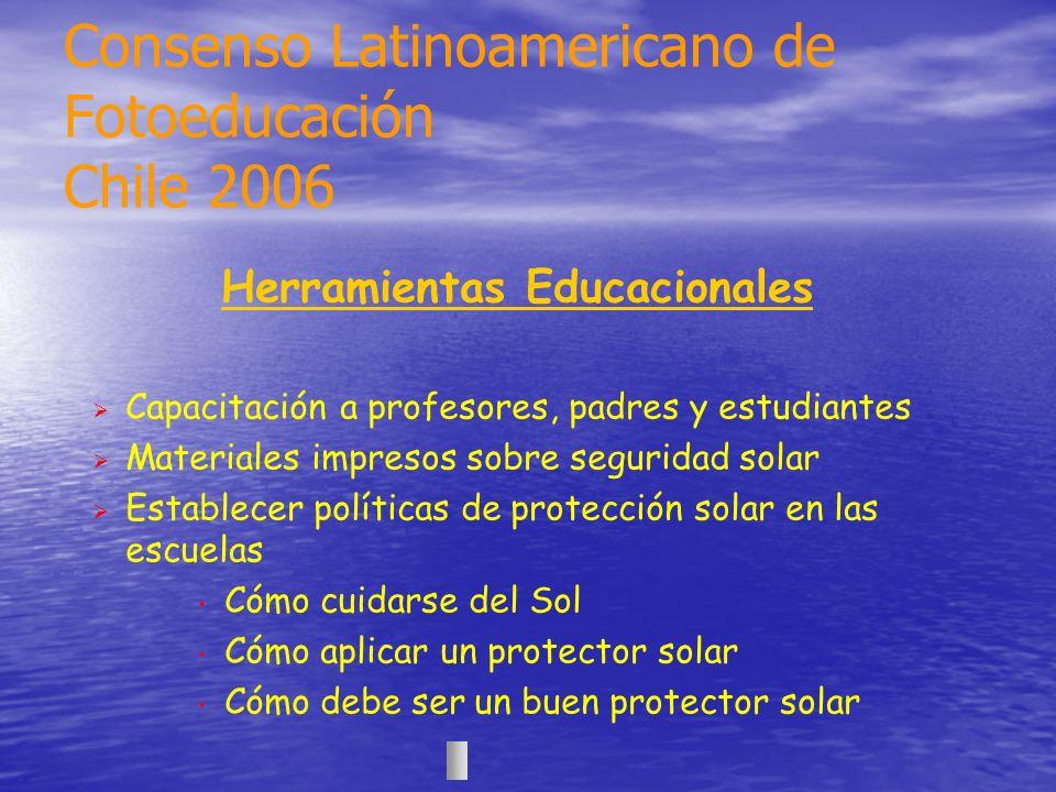 Herramientas Educacionales Capacitación a profesores, padres y estudiantes Materiales impresos sobre seguridad solar Establecer políticas de protecció