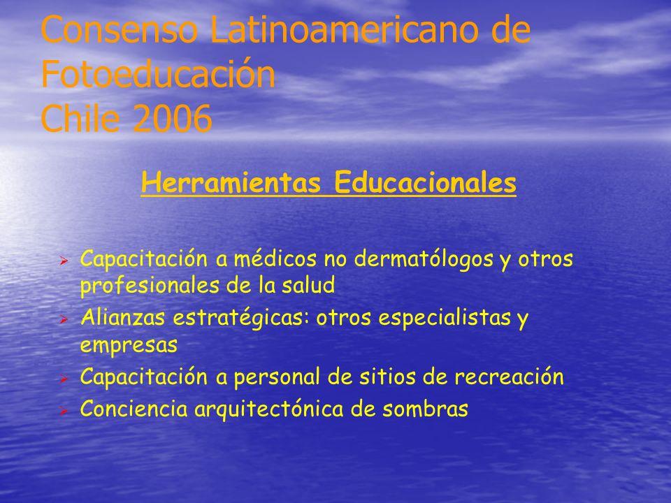 Herramientas Educacionales Capacitación a médicos no dermatólogos y otros profesionales de la salud Alianzas estratégicas: otros especialistas y empre