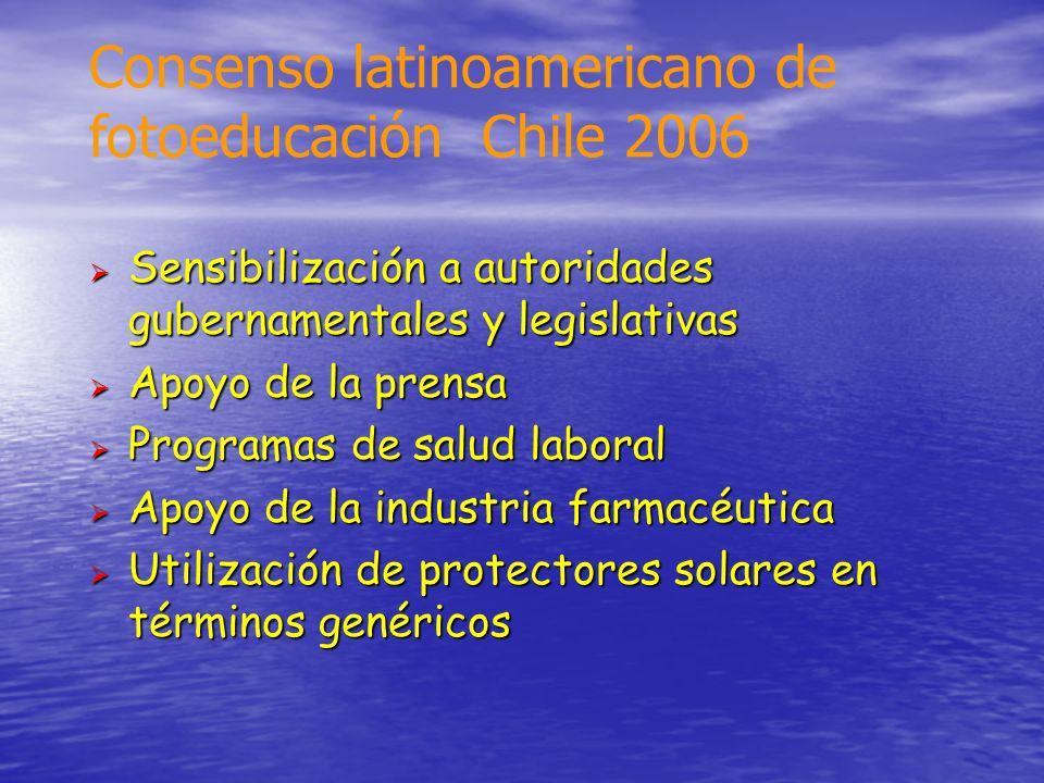Consenso latinoamericano de fotoeducación Chile 2006 Sensibilización a autoridades gubernamentales y legislativas Sensibilización a autoridades gubern