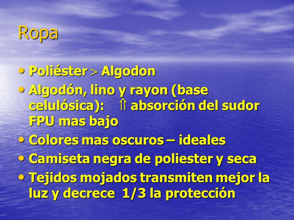 Ropa Poliéster Algodon Poliéster Algodon Algodón, lino y rayon (base celulósica): absorción del sudor FPU mas bajo Algodón, lino y rayon (base celulós
