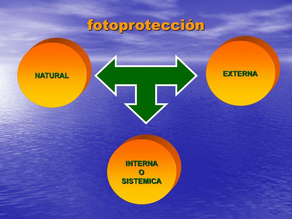 fotoprotección NATURAL EXTERNA INTERNAOSISTEMICA