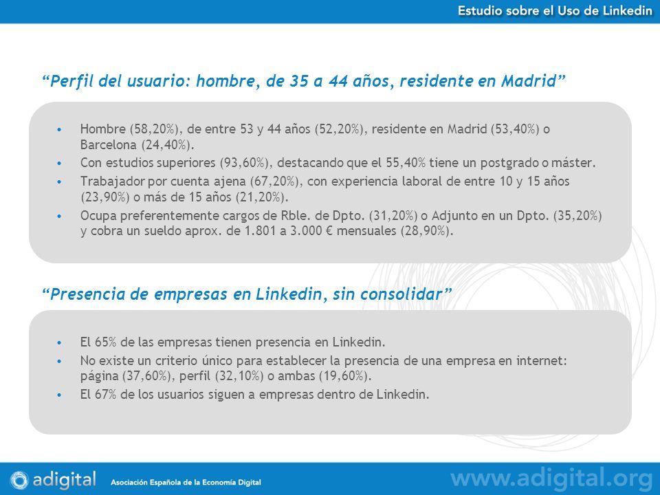 Hombre (58,20%), de entre 53 y 44 años (52,20%), residente en Madrid (53,40%) o Barcelona (24,40%). Con estudios superiores (93,60%), destacando que e