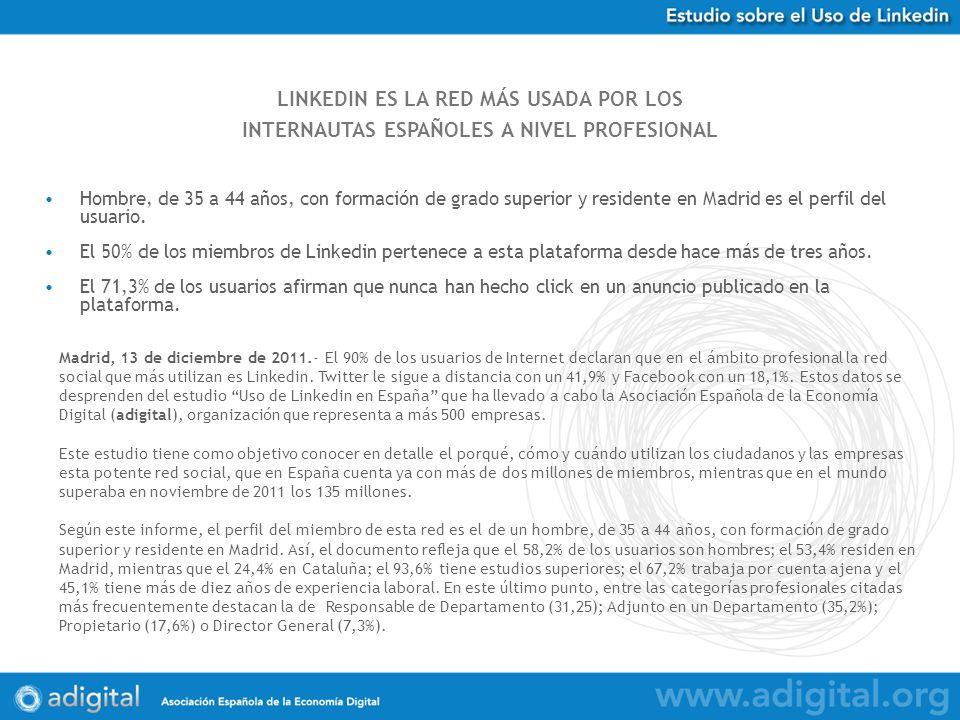 LINKEDIN ES LA RED MÁS USADA POR LOS INTERNAUTAS ESPAÑOLES A NIVEL PROFESIONAL Hombre, de 35 a 44 años, con formación de grado superior y residente en Madrid es el perfil del usuario.