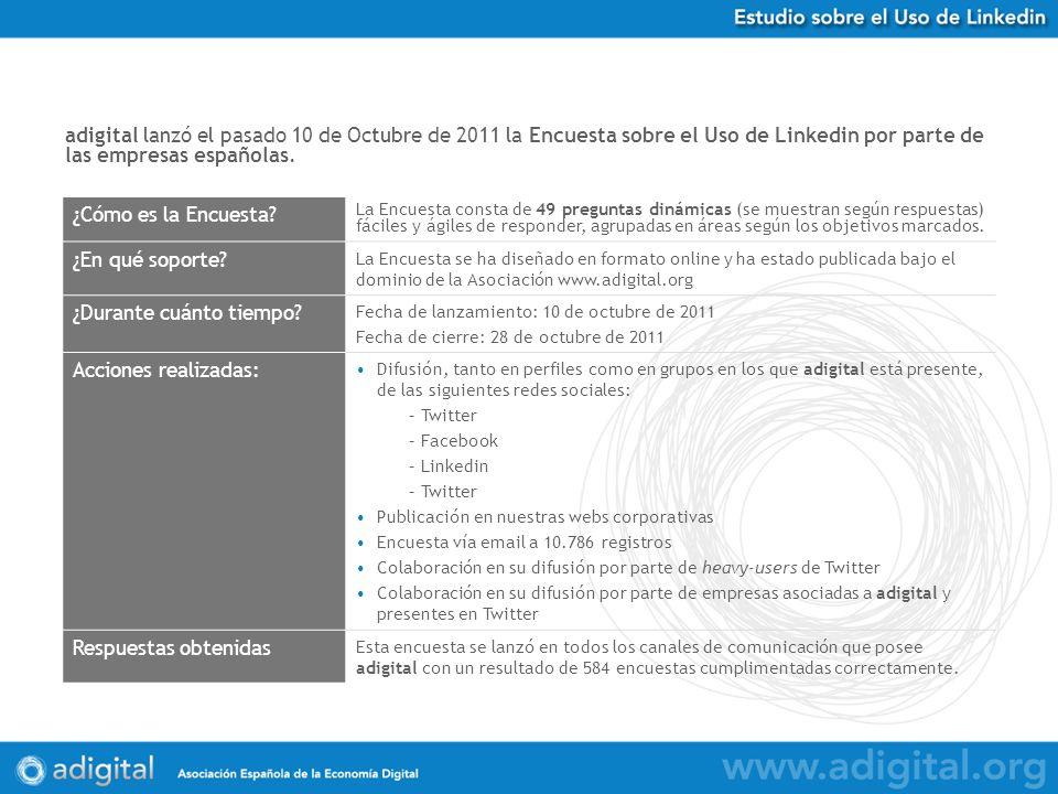 adigital lanzó el pasado 10 de Octubre de 2011 la Encuesta sobre el Uso de Linkedin por parte de las empresas españolas.