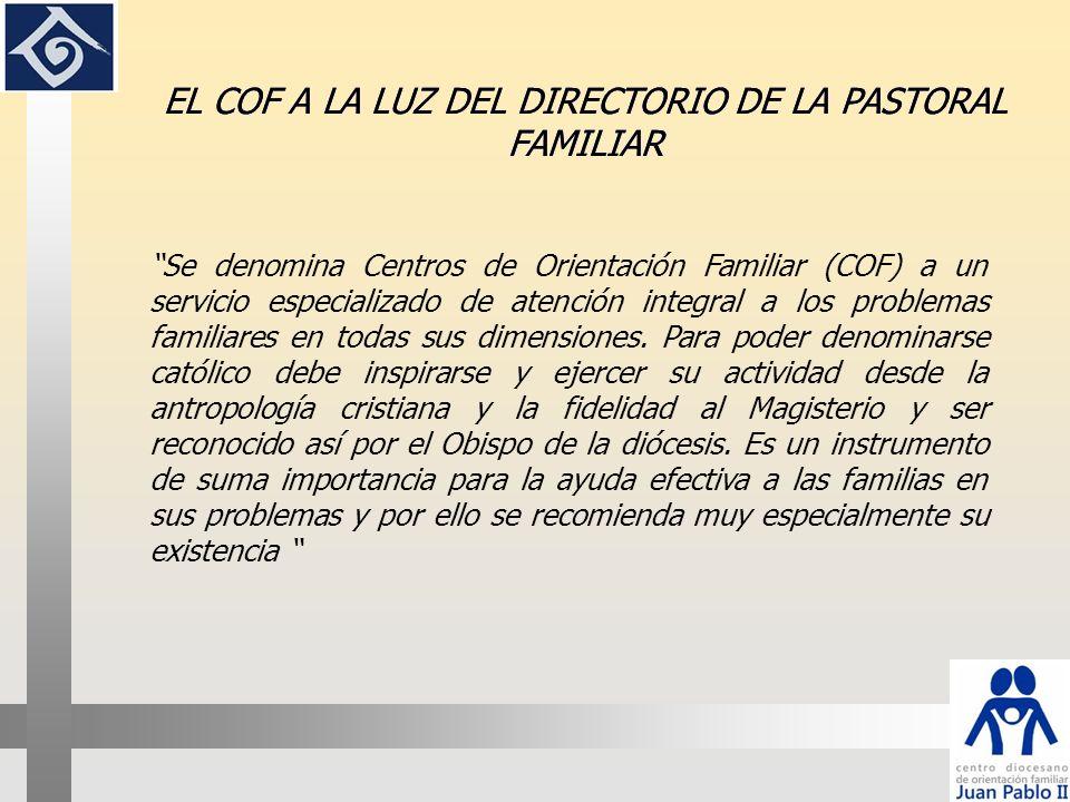 En el marco de la pastoral de la familia, el COF diocesano Juan Pablo II se presenta como un servicio a la Iglesia y a las familias; su núcleo principal consiste en la evangelización y la humanización.