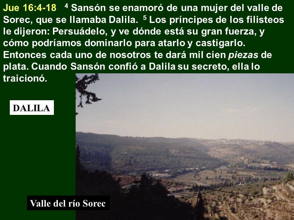 Jue 16:4-18 4 Sansón se enamoró de una mujer del valle de Sorec, que se llamaba Dalila. 5 Los príncipes de los filisteos le dijeron: Persuádelo, y ve