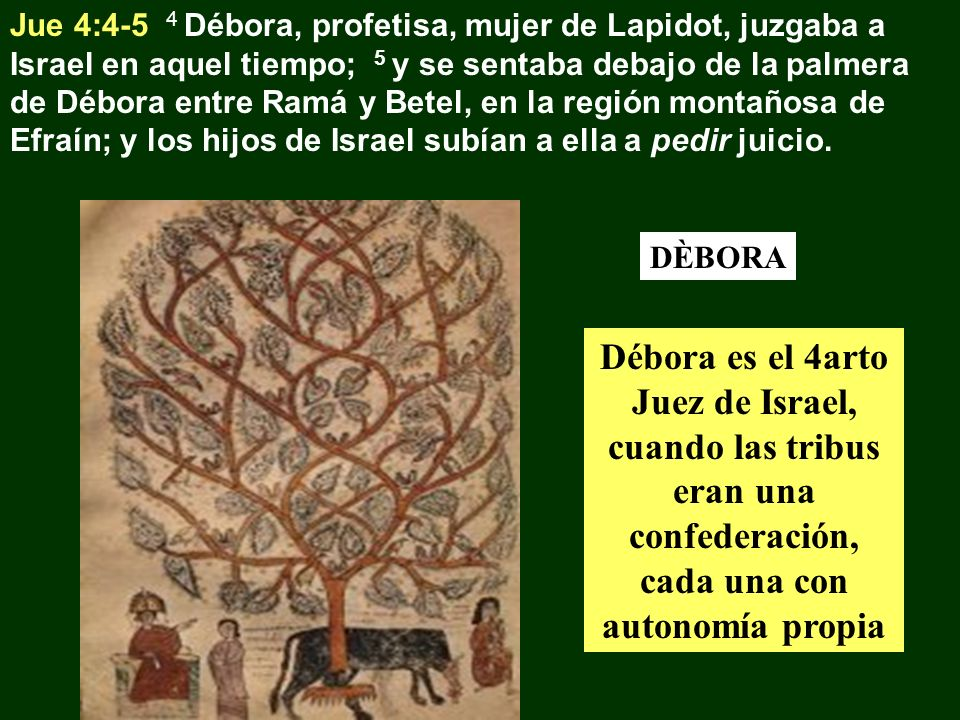 Jue 4:4-5 4 Débora, profetisa, mujer de Lapidot, juzgaba a Israel en aquel tiempo; 5 y se sentaba debajo de la palmera de Débora entre Ramá y Betel, e
