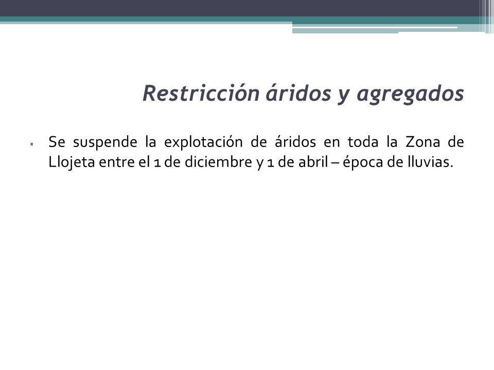 Restricción áridos y agregados Se suspende la explotación de áridos en toda la Zona de Llojeta entre el 1 de diciembre y 1 de abril – época de lluvias