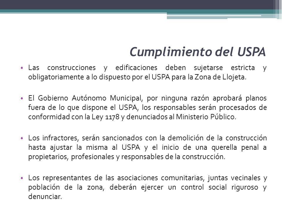 Cumplimiento del USPA Las construcciones y edificaciones deben sujetarse estricta y obligatoriamente a lo dispuesto por el USPA para la Zona de Llojet
