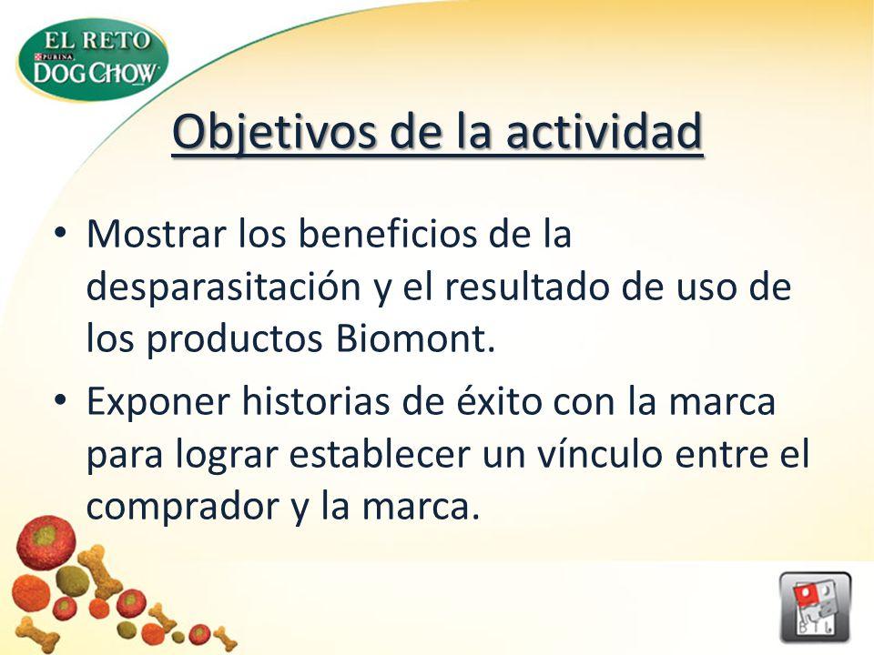 Objetivos de la actividad Mostrar los beneficios de la desparasitación y el resultado de uso de los productos Biomont.