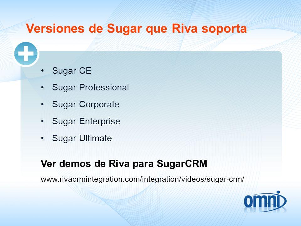 Versiones de Sugar que Riva soporta Sugar CE Sugar Professional Sugar Corporate Sugar Enterprise Sugar Ultimate www.rivacrmintegration.com/integration