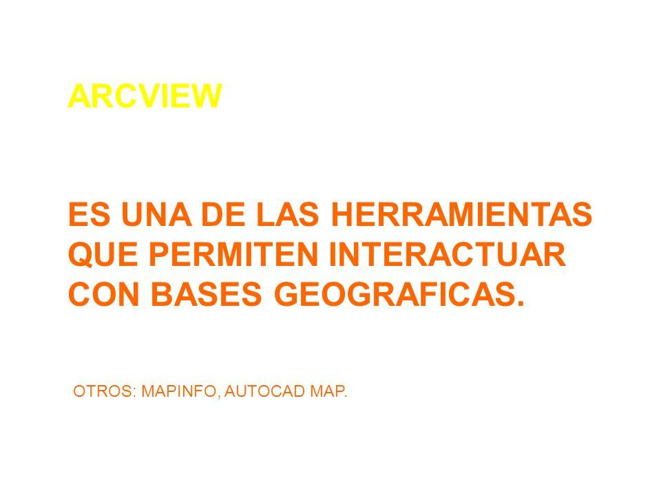 ARCVIEW ES UNA DE LAS HERRAMIENTAS QUE PERMITEN INTERACTUAR CON BASES GEOGRAFICAS. OTROS: MAPINFO, AUTOCAD MAP.
