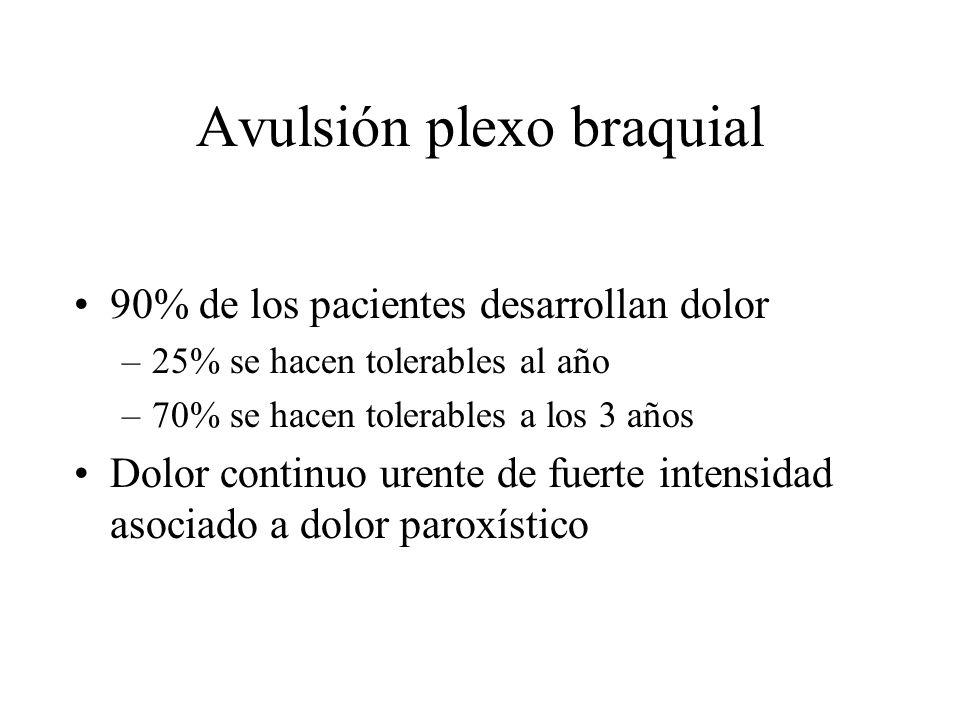 Avulsión plexo braquial 90% de los pacientes desarrollan dolor –25% se hacen tolerables al año –70% se hacen tolerables a los 3 años Dolor continuo ur