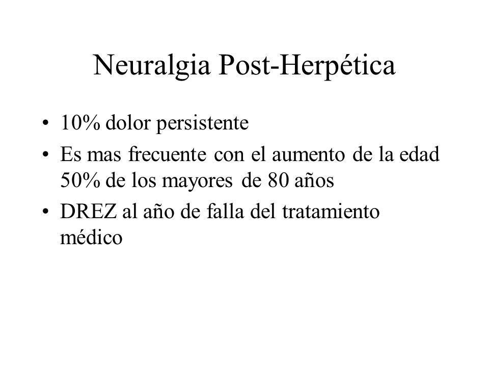 Neuralgia Post-Herpética 10% dolor persistente Es mas frecuente con el aumento de la edad 50% de los mayores de 80 años DREZ al año de falla del trata
