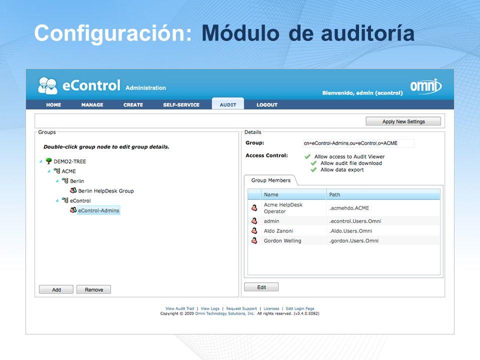 Configuración: Módulo de auditoría