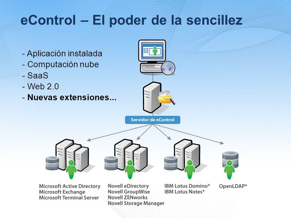 eControl – El poder de la sencillez - Aplicación instalada - Computación nube - SaaS - Web 2.0 - Nuevas extensiones...