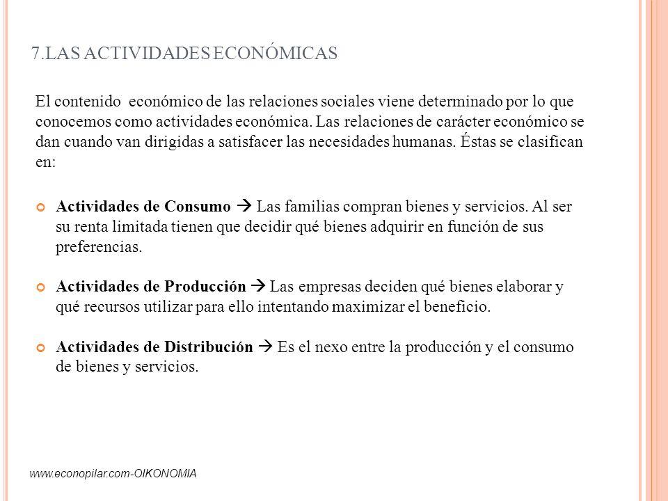 7.LAS ACTIVIDADES ECONÓMICAS Actividades de Consumo Las familias compran bienes y servicios. Al ser su renta limitada tienen que decidir qué bienes ad