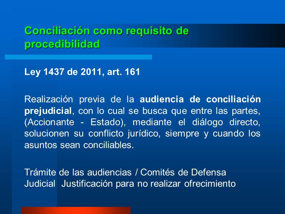 Conciliación como requisito de procedibilidad Ley 1437 de 2011, art. 161 Realización previa de la audiencia de conciliación prejudicial, con lo cual s