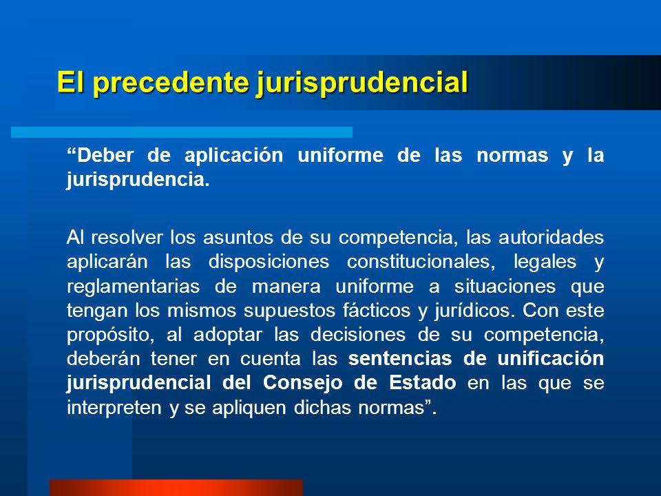 El precedente jurisprudencial Se tendrán como sentencias de unificación jurisprudencial, las que profiera o haya proferido el Consejo de Estado por importancia jurídica o trascendencia económica o social, o por necesidad de unificar o sentar jurisprudencia.