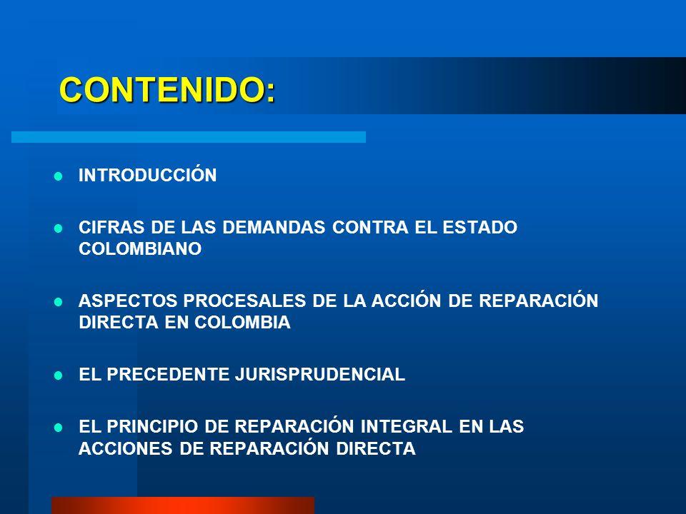 CONTENIDO: INTRODUCCIÓN CIFRAS DE LAS DEMANDAS CONTRA EL ESTADO COLOMBIANO ASPECTOS PROCESALES DE LA ACCIÓN DE REPARACIÓN DIRECTA EN COLOMBIA EL PRECE