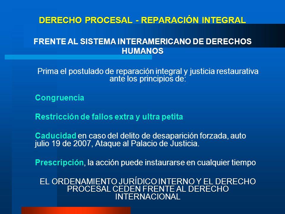 DERECHO PROCESAL - REPARACIÓN INTEGRAL SISTEMA INTERAMERICANO DE DERECHOS HUMANOS DERECHO PROCESAL - REPARACIÓN INTEGRAL FRENTE AL SISTEMA INTERAMERIC