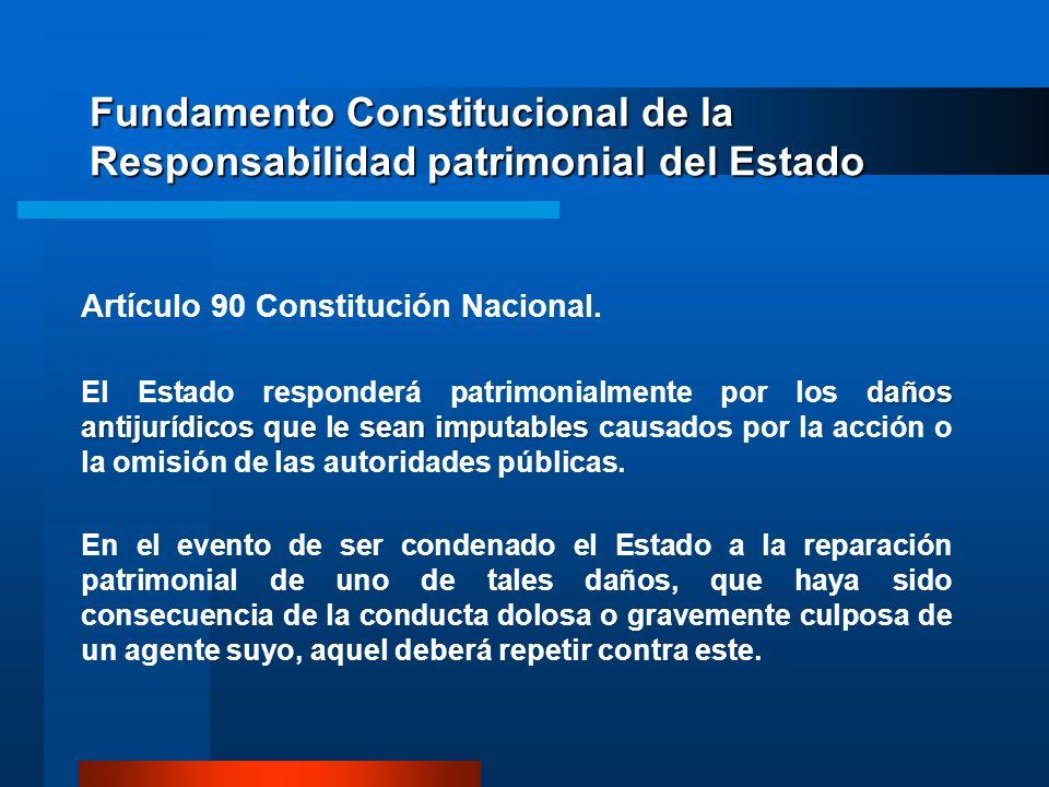 Fundamento Constitucional de la Responsabilidad patrimonial del Estado Artículo 90 Constitución Nacional. daños antijurídicos que le sean imputables E