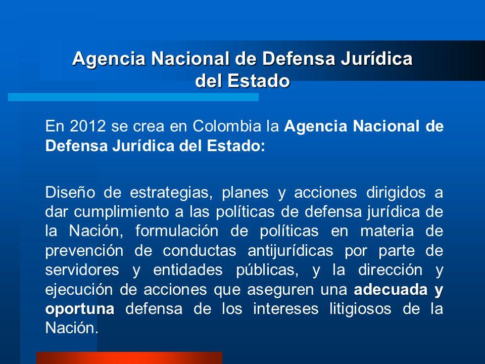 Agencia Nacional de Defensa Jurídica del Estado En 2012 se crea en Colombia la Agencia Nacional de Defensa Jurídica del Estado: adecuada y oportuna Di