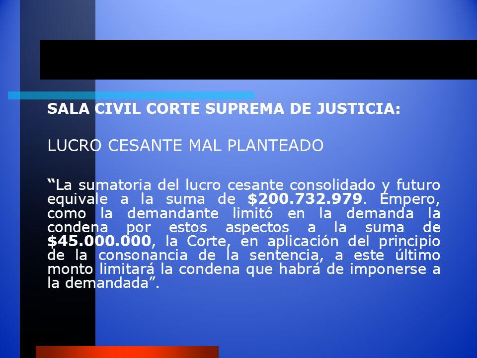 SALA CIVIL CORTE SUPREMA DE JUSTICIA: LUCRO CESANTE MAL PLANTEADO La sumatoria del lucro cesante consolidado y futuro equivale a la suma de $200.732.9