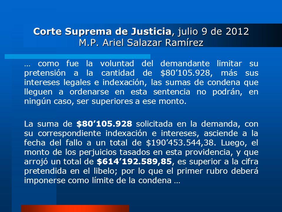 Corte Suprema de Justicia, julio 9 de 2012 M.P. Ariel Salazar Ramírez … como fue la voluntad del demandante limitar su pretensión a la cantidad de $80