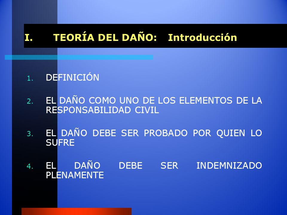 I.TEORÍA DEL DAÑO: Introducción 1. DEFINICIÓN 2. EL DAÑO COMO UNO DE LOS ELEMENTOS DE LA RESPONSABILIDAD CIVIL 3. EL DAÑO DEBE SER PROBADO POR QUIEN L