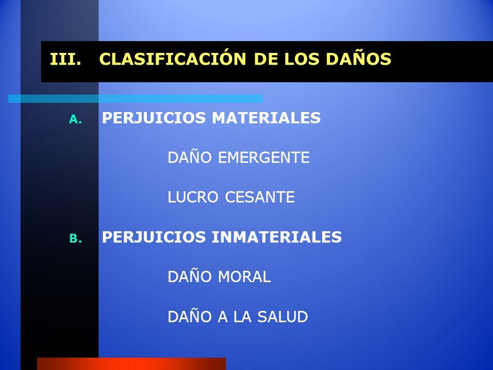 III.CLASIFICACIÓN DE LOS DAÑOS A. PERJUICIOS MATERIALES DAÑO EMERGENTE LUCRO CESANTE B. PERJUICIOS INMATERIALES DAÑO MORAL DAÑO A LA SALUD