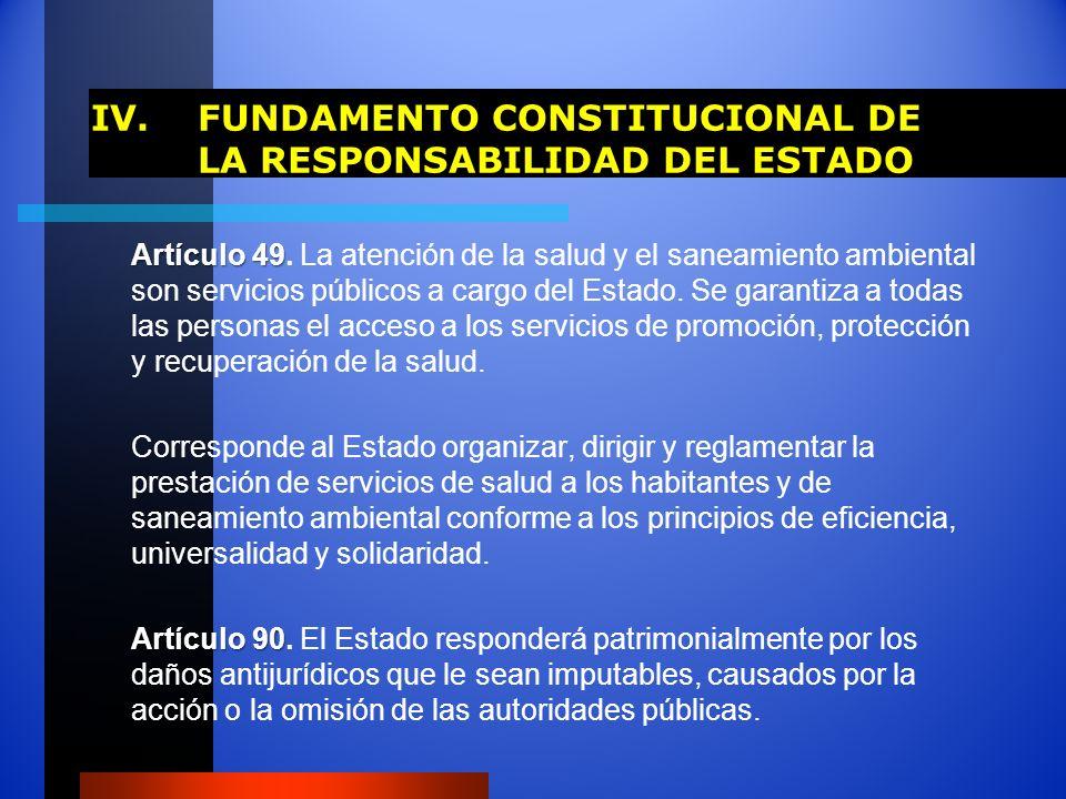 IV.FUNDAMENTO CONSTITUCIONAL DE LA RESPONSABILIDAD DEL ESTADO Artículo 49 Artículo 49. La atención de la salud y el saneamiento ambiental son servicio