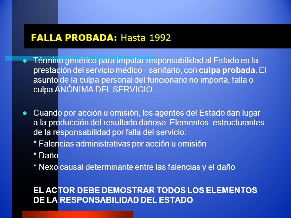 FALLA PROBADA: Hasta 1992 FALLA PROBADA: Hasta 1992 Término genérico para imputar responsabilidad al Estado en la prestación del servicio médico - san