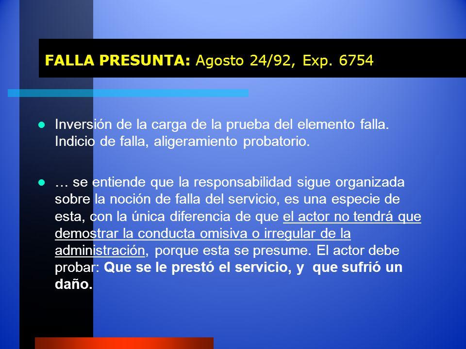 FALLA PRESUNTA: Agosto 24/92, Exp. 6754 FALLA PRESUNTA: Agosto 24/92, Exp. 6754 Inversión de la carga de la prueba del elemento falla. Indicio de fall