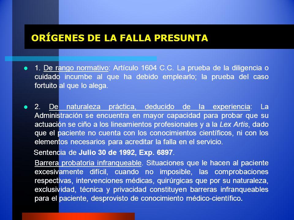 ORÍGENES DE LA FALLA PRESUNTA ORÍGENES DE LA FALLA PRESUNTA 1. De rango normativo: Artículo 1604 C.C. La prueba de la diligencia o cuidado incumbe al