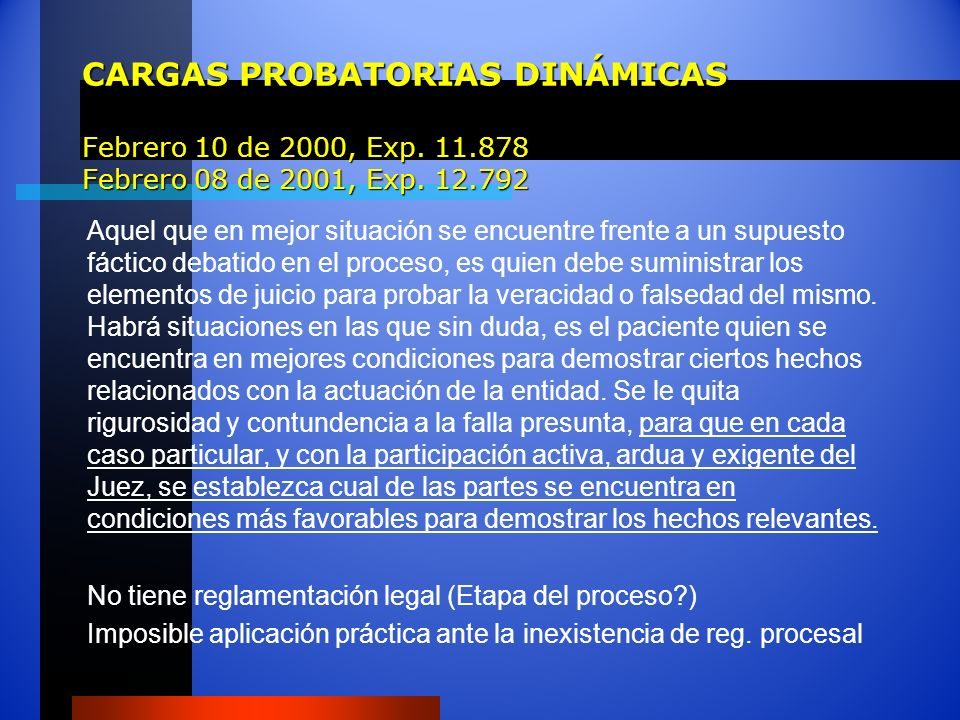 CARGAS PROBATORIAS DINÁMICAS Febrero 10 de 2000, Exp. 11.878 Febrero 08 de 2001, Exp. 12.792 Aquel que en mejor situación se encuentre frente a un sup