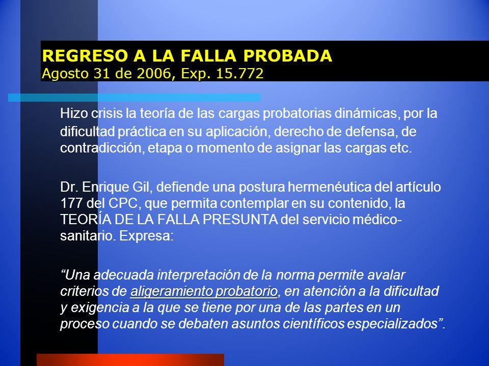REGRESO A LA FALLA PROBADA Agosto 31 de 2006, Exp. 15.772 Hizo crisis la teoría de las cargas probatorias dinámicas, por la dificultad práctica en su