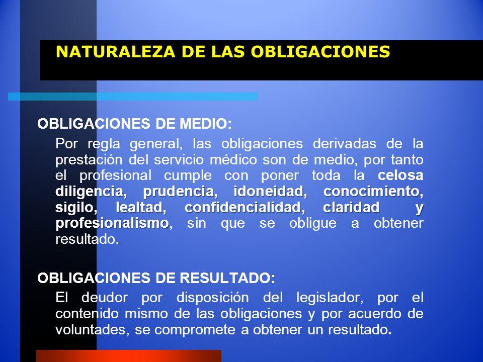 NATURALEZA DE LAS OBLIGACIONES OBLIGACIONES DE MEDIO: diligencia, prudencia, idoneidad, conocimiento, sigilo, lealtad, confidencialidad, claridad y pr