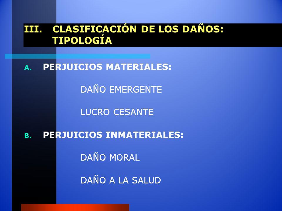 III. CLASIFICACIÓN DE LOS DAÑOS: TIPOLOGÍA A. PERJUICIOS MATERIALES: DAÑO EMERGENTE LUCRO CESANTE B. PERJUICIOS INMATERIALES: DAÑO MORAL DAÑO A LA SAL