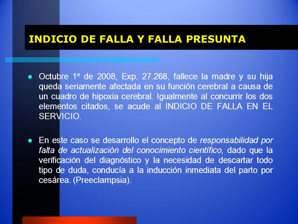 INDICIO DE FALLA Y FALLA PRESUNTA INDICIO DE FALLA Y FALLA PRESUNTA Octubre 1º de 2008, Exp. 27.268, fallece la madre y su hija queda seriamente afect
