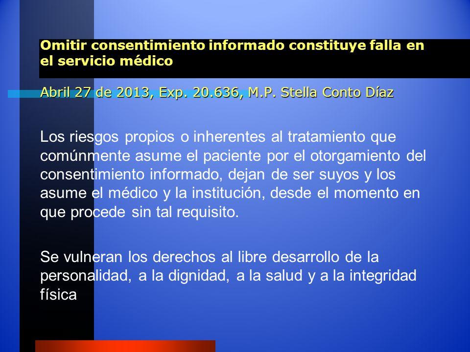 Omitir consentimiento informado constituye falla en el servicio médico Abril 27 de 2013, Exp. 20.636, M.P. Stella Conto Díaz Los riesgos propios o inh
